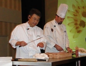 Chef Tom Naito , owner of Tomo demonstrates, sushi preparation.