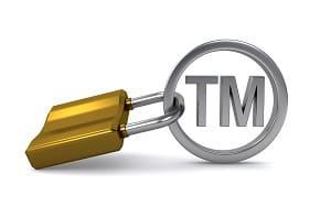 trademark sign and padlock